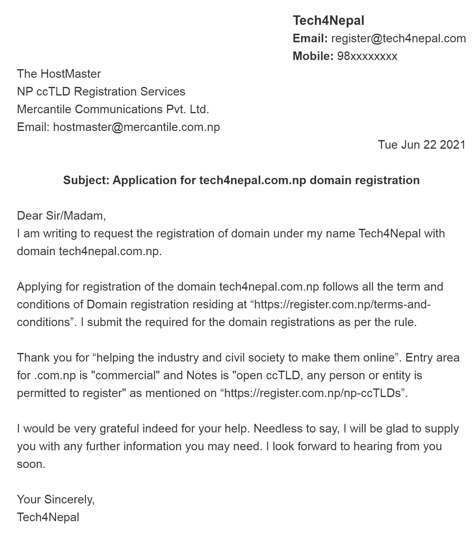 Cover Letter Sample For .np Domain Registration