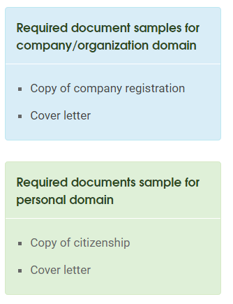 required doccument for .np domain registration